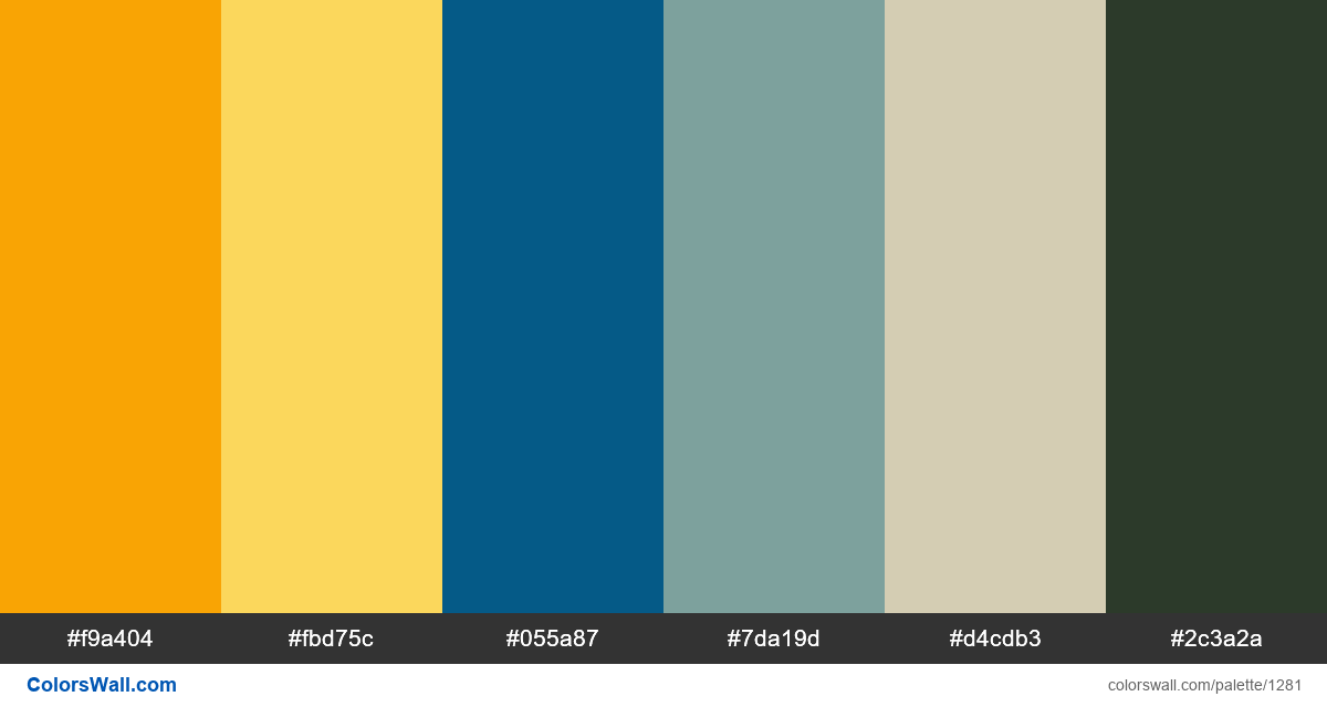 Blue sky and yellow flowers color palette HEX RGB codes