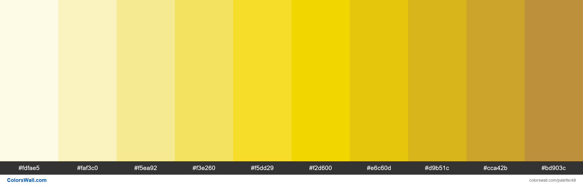 Trello Yellow colors palette HEX RGB codes