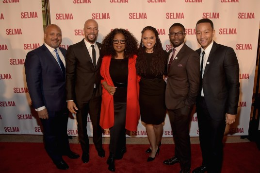 "SELMA, AL - JANUARY 18: EDITORIAL USE ONLY Executive Producer Paul Garnes, Common, Oprah Winfrey, Director Ava DuVernay, David Oyelowo, and John Legend attend a special screening of ""Selma,"" presented by Paramount Pictures on January 18, 2015 in Selma, Alabama. (Photo by Rick Diamond/Getty Images for Paramount Pictures) *** Local Caption *** Common; Oprah Winfrey; Ava DuVernay; David Oyelowo; John Legend; Paul Garnes"