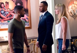 "EMPIRE: Pictured L-R: Jussie Smollett as Jamal Lyon, Trai Byers as Andre Lyon and Kaitlin Doubleday as Rhonda Lyon in the ""The Devils Are Here"" Season Two premiere episode of EMPIRE airing Wednesday, Sept. 23 (9:00-10:00 PM ET/PT) on FOX. ©2015 Fox Broadcasting Co. Cr: Chuck Hodes/FOX."