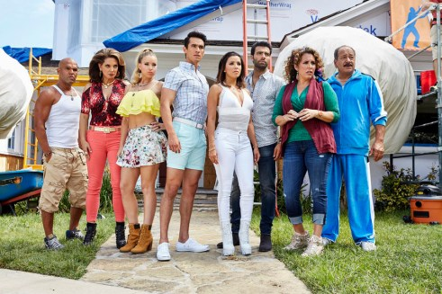 TELENOVELA -- Season 1 -- Pictured: (l-r) Amaury Nolasco as Rodrigo Suarez, Alex Meneses as Isabela Santamaria, Jadyn Douglas as Roxie Rios, Jose Moreno Brooks as Gael Garnica, Eva Longoria as Ana Sofia Calderon, Jencarlos Canela as Xavier Castillo, Diana Maria Riva as Mimi Moncada, Juan Carlos Cantu as Gustavo -- (Photo by: Ben Cohen/NBC)