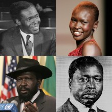 Collage of prominent Nilotic peoples. First row, from left: Milton Obote Alek Wek Second row, from left: Salva Kiir Mayardit Daniel arap Moi (Middayexpress/Creative Commons*)