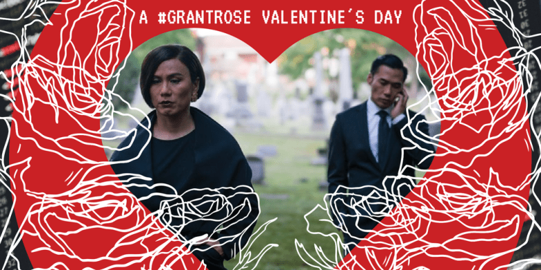 The illustration features a still of White Rose and Grant in a cemetery. The picture is set in a red heart frame surrounded by the outlines of white roses. The background is white and red HTML on a dark grey computer screen.