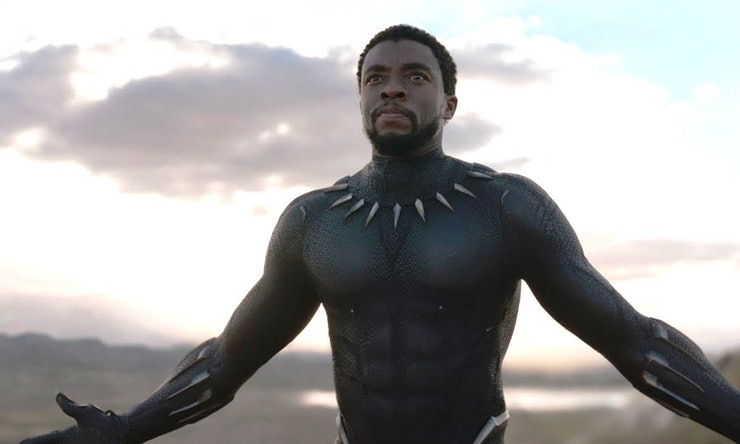 T'Challa, in his Black Panther suit without his mask, walks forward, arms slightly outstretched, in the open landscape of Wakanda.