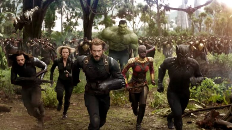 Winter Soldier, Black Widow, Captain America, Okoye, Black Panther and the Hulk are running with Wakanda's forces through the Wakandan Savannah towards danger.