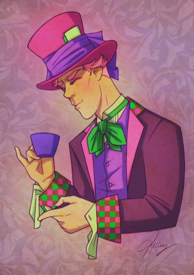Fan art of Benedict Cumberbatch dressed as the Mad Hatter drinking tea