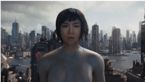 Constance Wu's face is technologically grafted over Scarlett Johansson's to show how the Major could have looked in Ghost in the Shell.