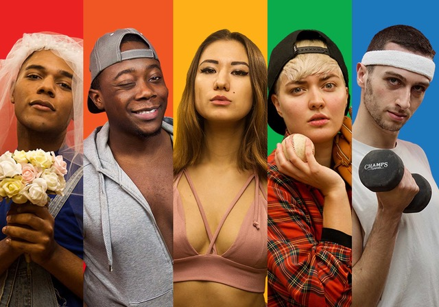 Several LGBT stars of different races on Revry TV are showcased in front of the rainbow colors.