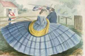 1800s wide dress shows how social distancing was done