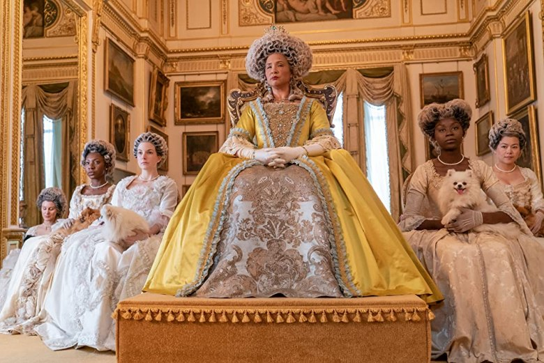 Queen Charlotte (Golda Rosheuvel) with her court. (Photo credit: Liam Daniel/Netflix)