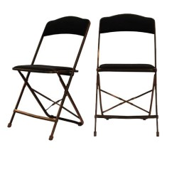 Cloth Padded Folding Chairs Slipcover For Wing Chair Black Fabric Deluxe Gold Metal Frame Color