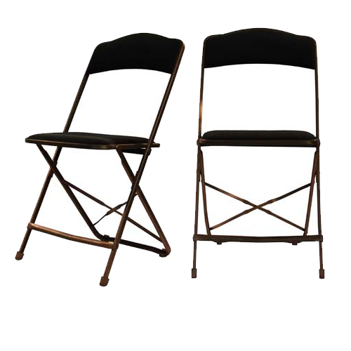 black padded folding chairs outdoor chair cushions amazon fabric deluxe gold metal frame color