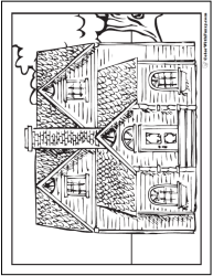 coloring adult pages houses printable buildings advanced colorwithfuzzy