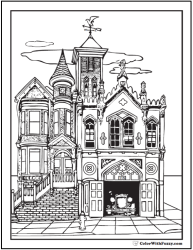 coloring pages adult victorian adults books printable houses colouring sheets firehouse fire colorwithfuzzy cool village advanced drawings antique station building
