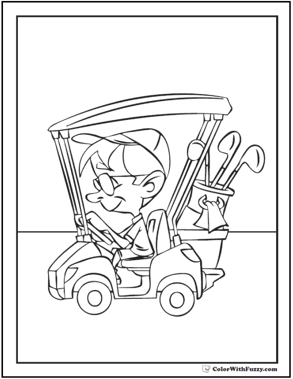 Golf Coloring Pages: Customize And Print PDF