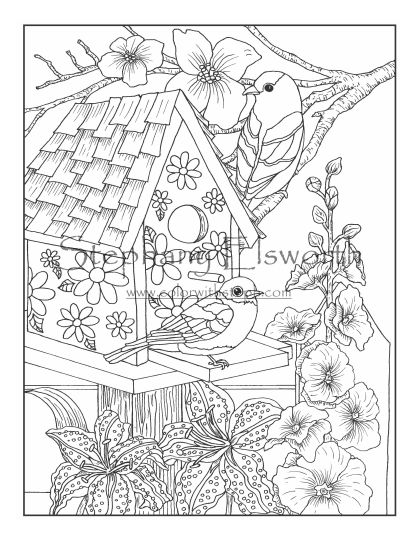 Birdhouse and Flowers Coloring Page