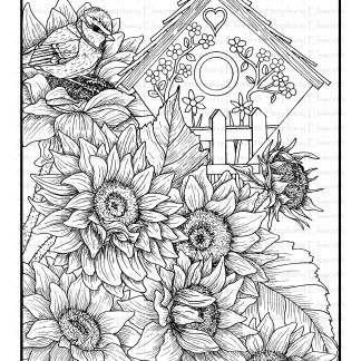 Bird House and Sunflowers