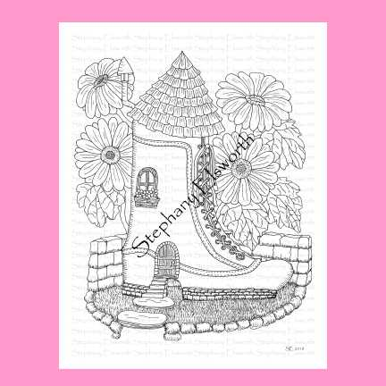 Boot Fairy House Coloring Page