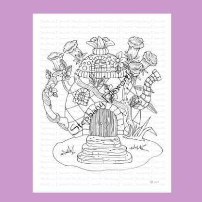 Coffee Pot Fairy House Coloring Page