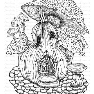 Gourd and Mushrooms Fairy House