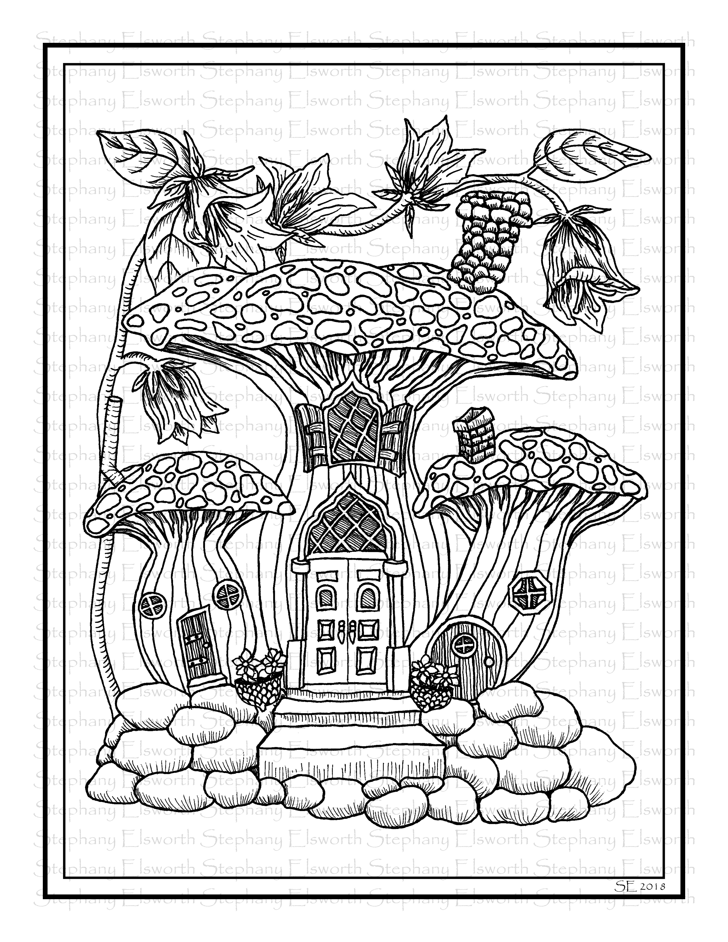 Mushroom Fairy House Printable Coloring Page - Color with ...