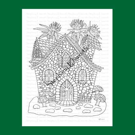 Pebble Cottage Fairy House Coloring Page