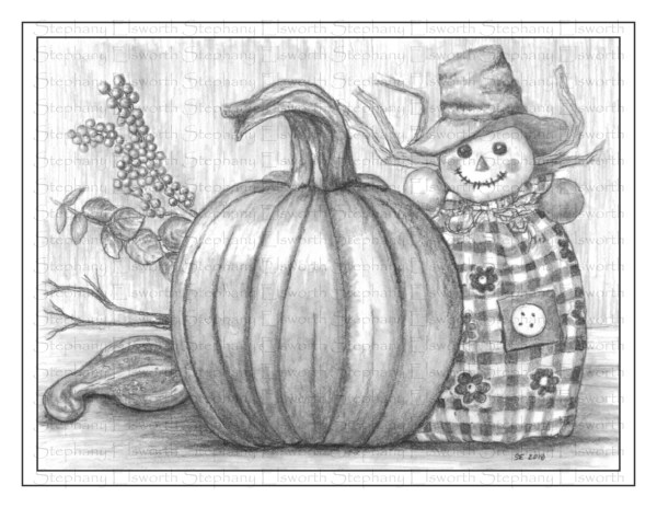 Scarecrow and Pumpkin Grayscale