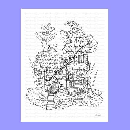 Stone Castle Fairy House Coloring Page