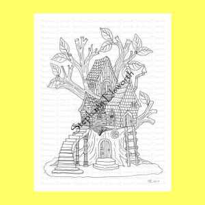Fairy Treehouse Coloring Page