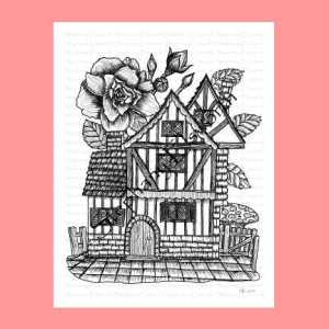 Tudor Fairy House Coloring Page