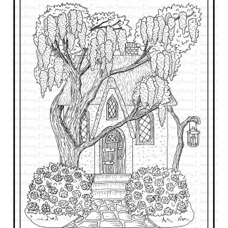 Lilac Cottage Fairy House Coloring Page