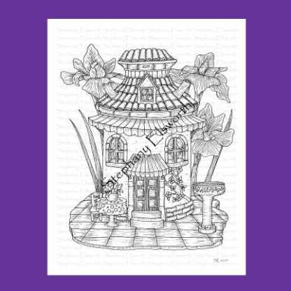 Milk Can Fairy House Coloring Page