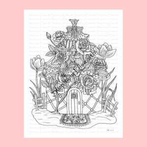 Shabby Chic Fairy House Coloring Page