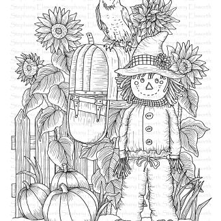scarecrow and mailbox coloring page