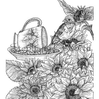 Teacup Bird Feeder and Sunflowers Coloring Page