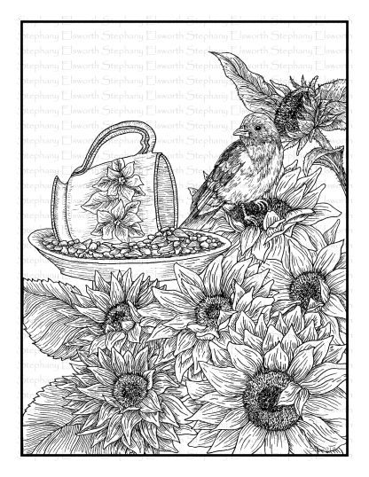 Birds and Flowers - Bluebird and Sunflowers