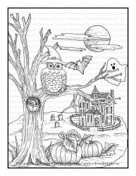 owl haunted coloring printable