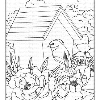 bluebird and peonies