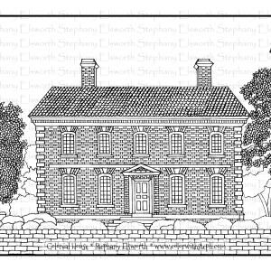 Colonial House Free Coloring Page