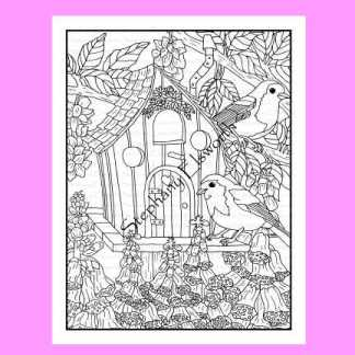 Robins and Foxglove Coloring Page