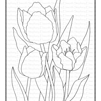 tulips free coloring page