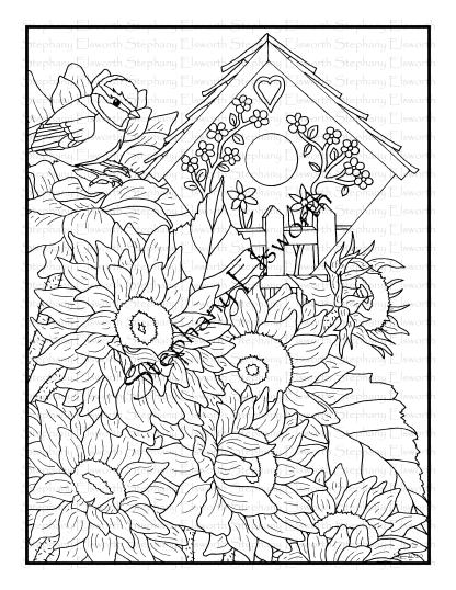 Chickadee and Sunflowers 2 Coloring Page