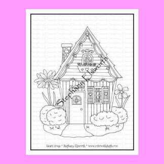 Heart House Free Coloring Page