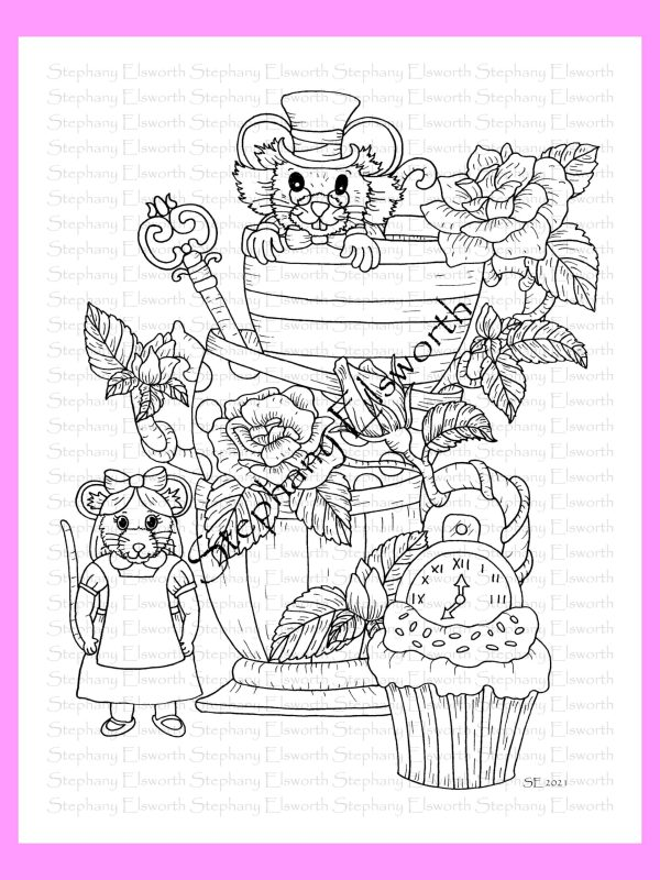 Mice in Wonderland Coloring Page