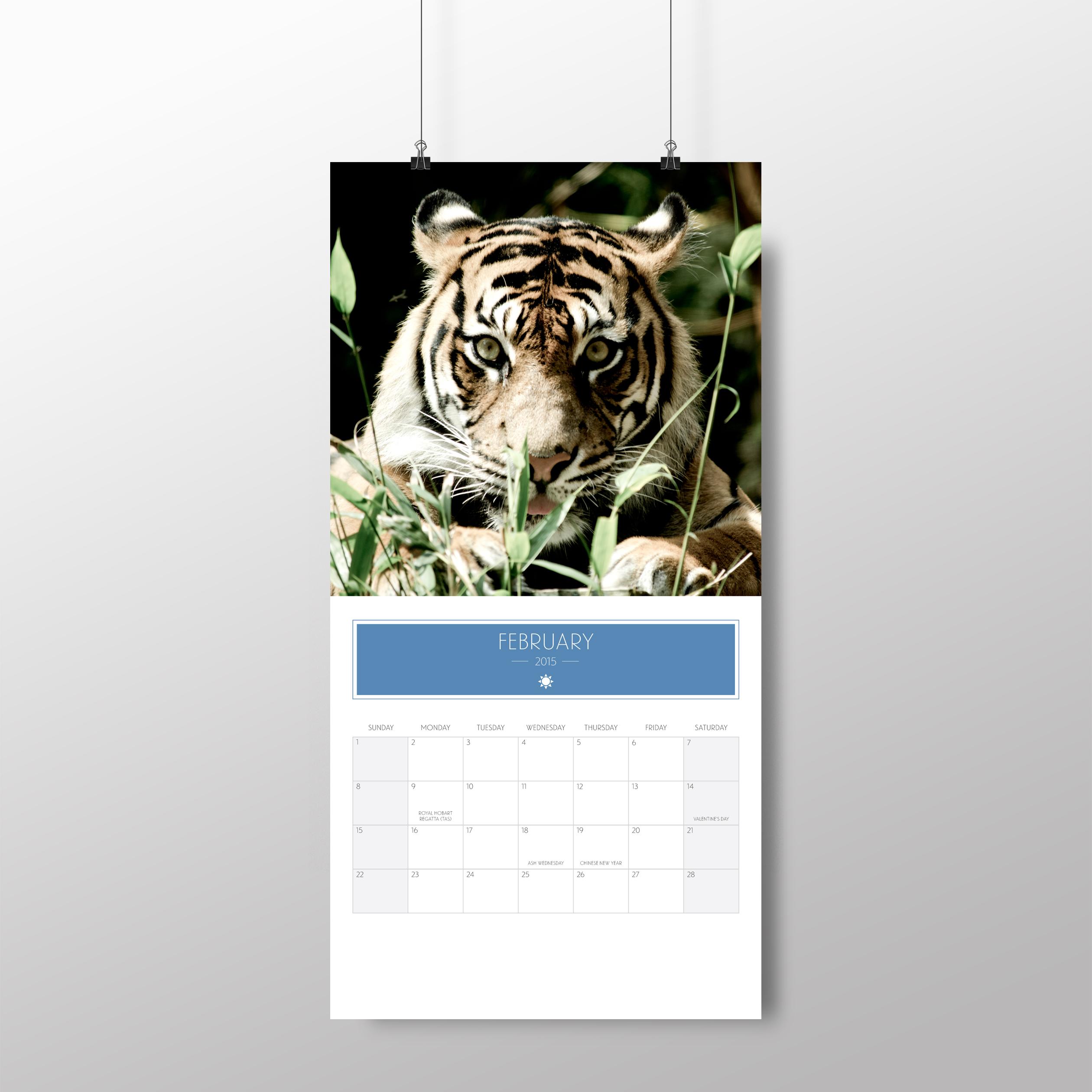 Animal calendar – February