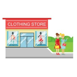 clothing shopping building vector cartoon two bags smiling standing nearby colorful colourbox supplier