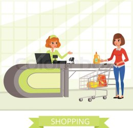 cartoon cashier grocery supermarket customer vector counter shopping characters cart banner retail desk flat young colourbox supplier promo concept