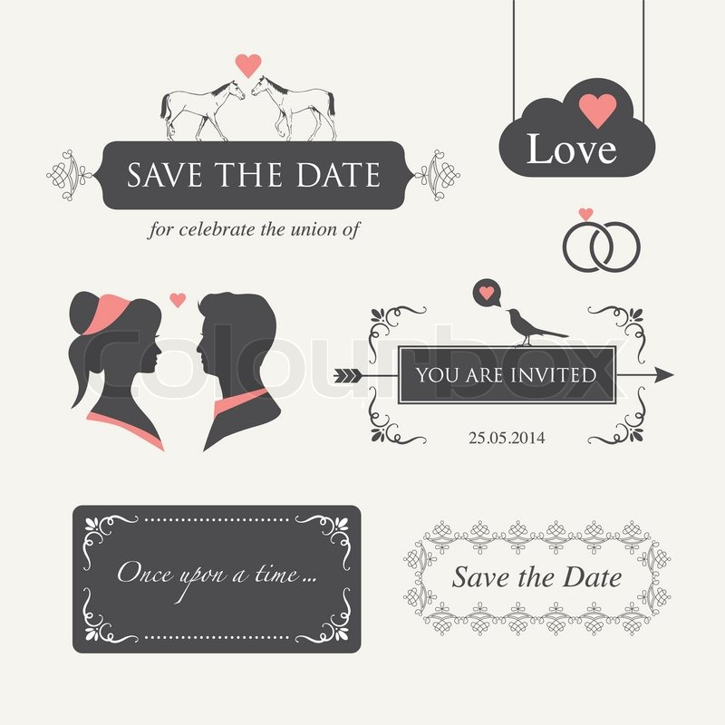 Set Of Wedding Logo Design Illustration Elements And