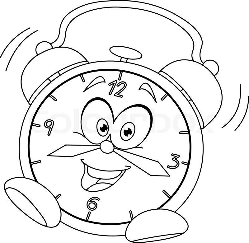 Outlined cartoon alarm clock. Vector illustration coloring