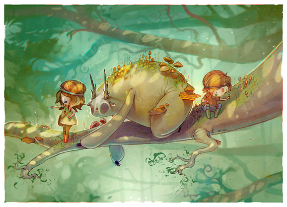 Hannakin 'Children of The Glade' - Art Print (A5 size)
